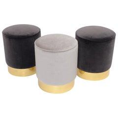 Three Cylindrical Stools in Velvet Upholstery
