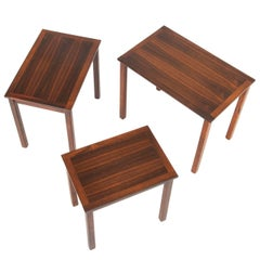 Set of Three Danish Modern Nesting Tables in Rosewood