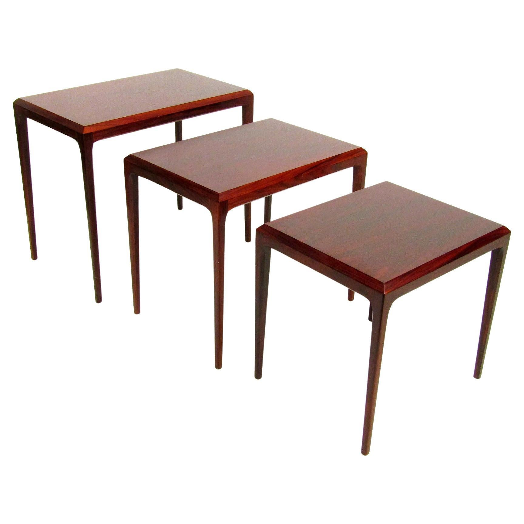 Three Danish Rosewood Nesting Tables by Johannes Andersen for Silkeborg