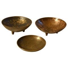 Three Decorative Bronze Mid-Century Modern Bowls