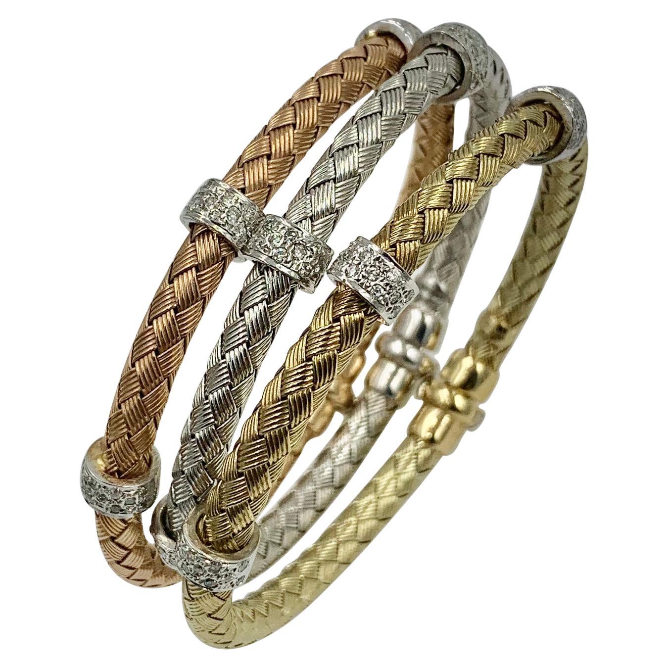 Three Diamond Bangle Stacking Bracelets 14 Karat Yellow Rose White Gold, Italy
