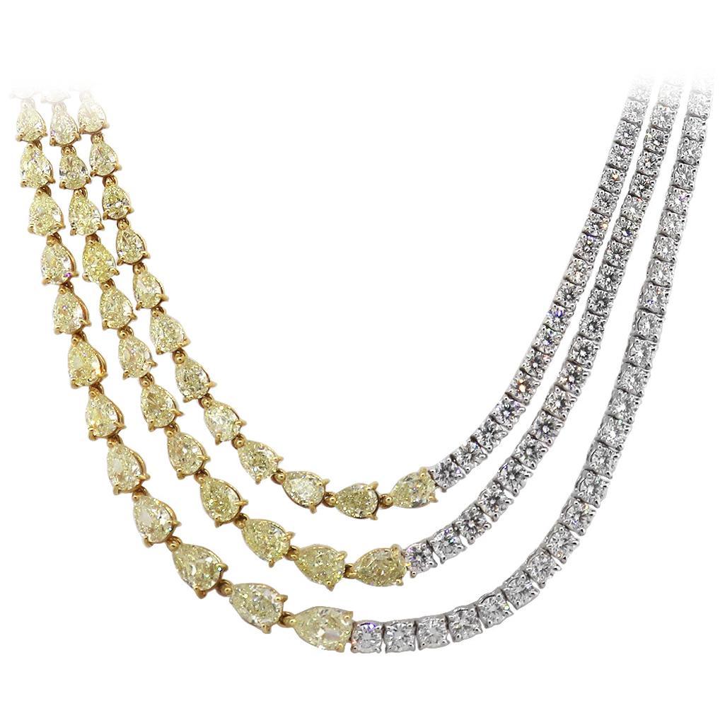 Three Diamond Half Strand Necklace