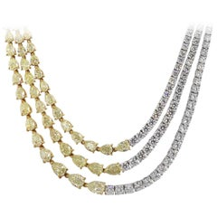 Three Diamond Half Strand Necklace