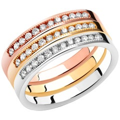 Three Diamond Partial Multi-Color Gold Stacking Bands Sold as a Set