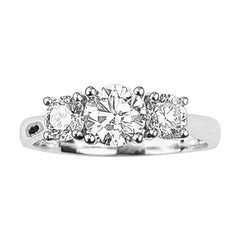 Three-Diamond Ring with 0.60 Carat Center Diamond in White Gold