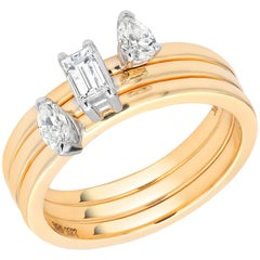 Three-Diamond Yellow Gold Stacking Bands Sold as a Set