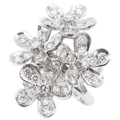 Three Dimensional 5-Petal Flower Bouquet Diamond Ring 18 Karat White Gold
