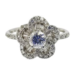 Three Dimensional Diamond Flower Ring