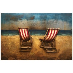 Three-Dimensional Metal and Acrylic Painting of Beach Chairs by the Seaside