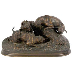 Three Dogs Burrowing 'Chase Au Lapin', by Pierre-Jules Mêne