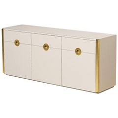 Three-Door Sideboard with Brass in Style of Willy Rizzo