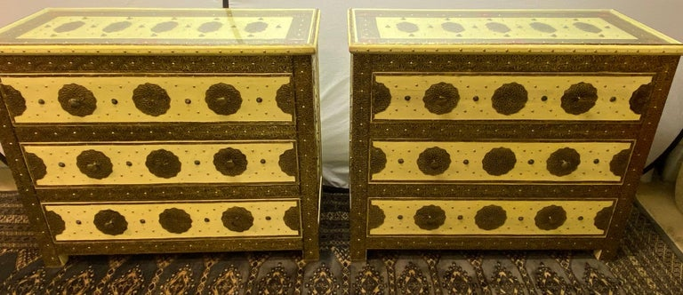 Moroccan Three-Drawer Commodes, Chests or Nightstands in Hollywood Regency Style, a Pair  For Sale