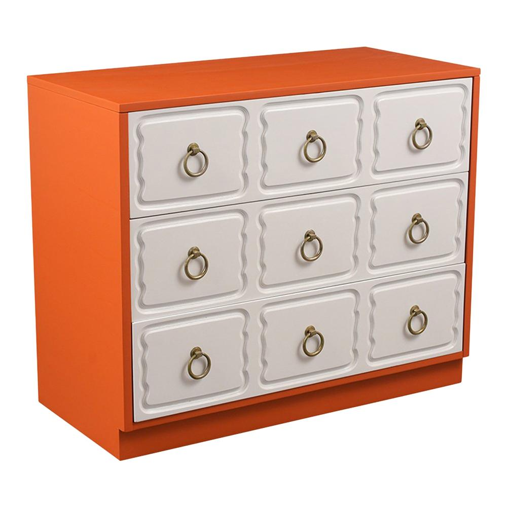 Three-Drawer Dorothy Draper Style Dresser with Lacquered Finish