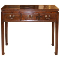 Three-Drawer Elm Console Table