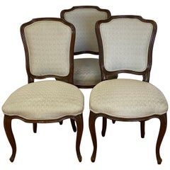 Three Early 20th Century French Walnut Carved Side Chairs, circa 1900