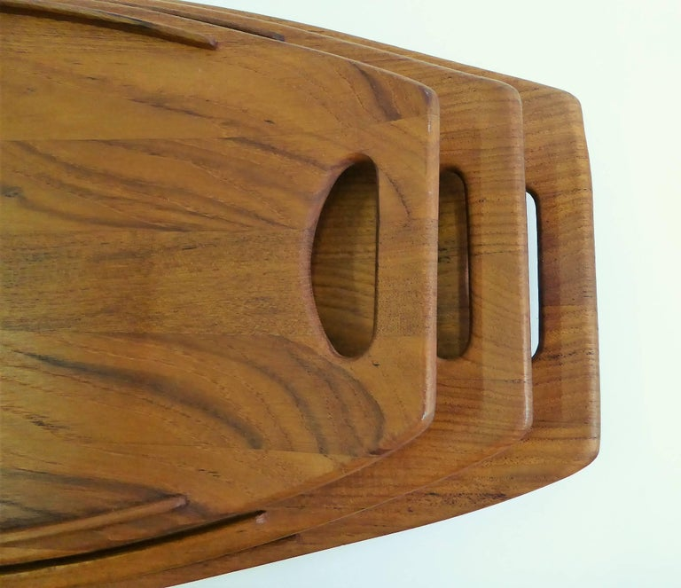 Three Early Jens Quistgaard Dansk Fjord Teak Trays Denmark In Excellent Condition For Sale In Miami, FL