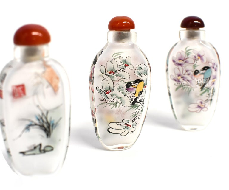 Three Églomisé Reverse Painted Snuff Bottles with Magnolia and Orchid For Sale 4