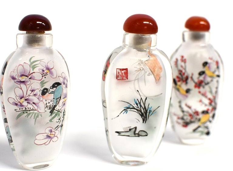 Three Églomisé Reverse Painted Snuff Bottles with Magnolia and Orchid For Sale 5