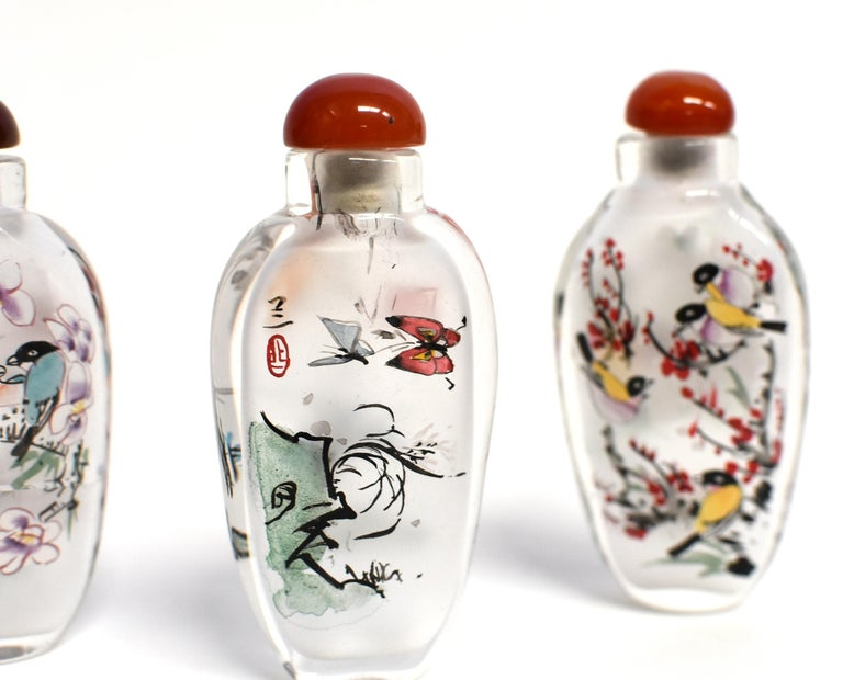 Three Églomisé Reverse Painted Snuff Bottles with Magnolia and Orchid For Sale 6