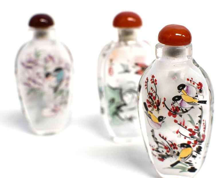 Three Églomisé Reverse Painted Snuff Bottles with Magnolia and Orchid For Sale 7