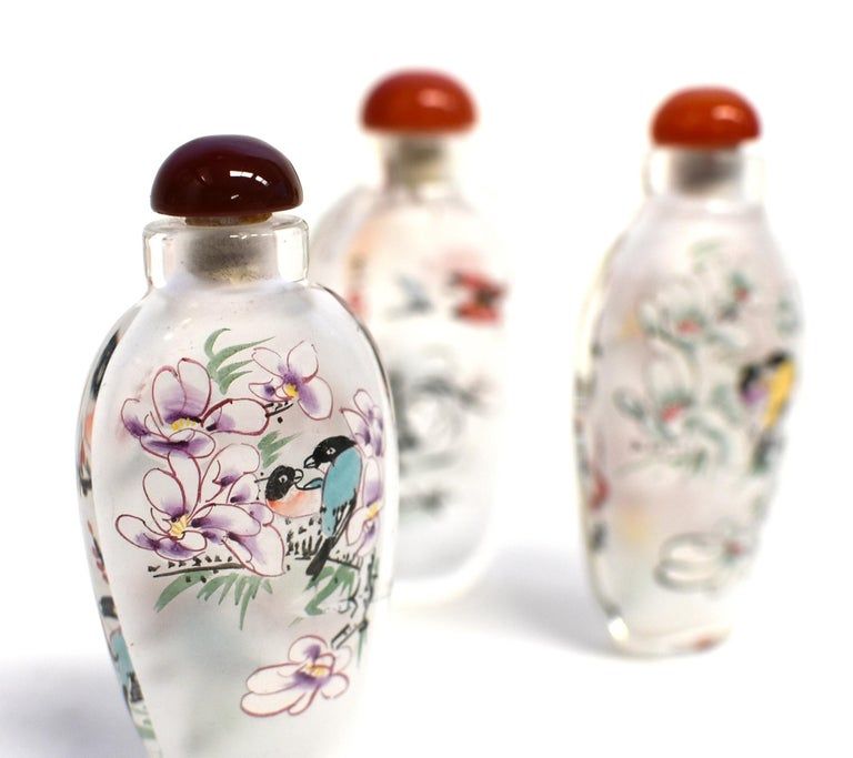 Three Églomisé Reverse Painted Snuff Bottles with Magnolia and Orchid For Sale 8