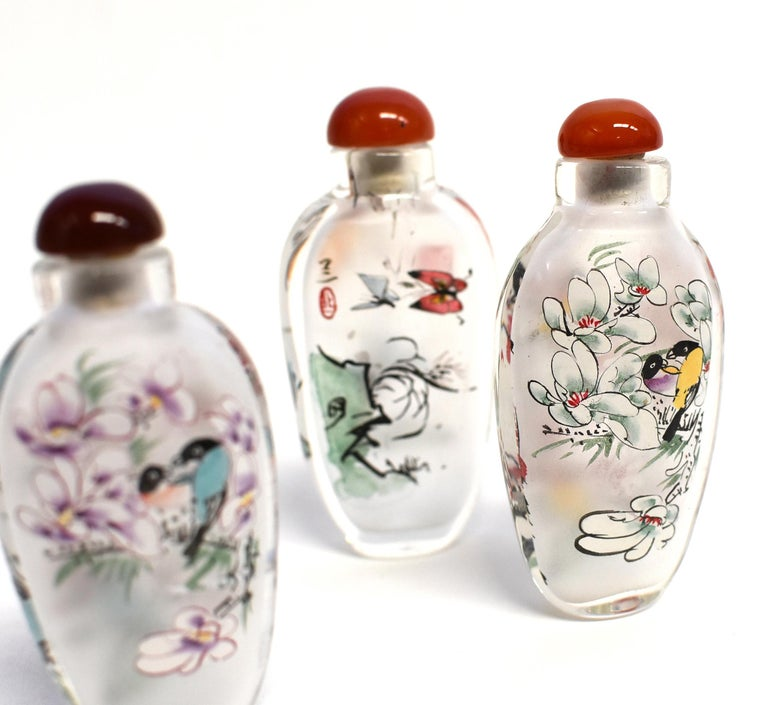 Three Églomisé Reverse Painted Snuff Bottles with Magnolia and Orchid For Sale 9