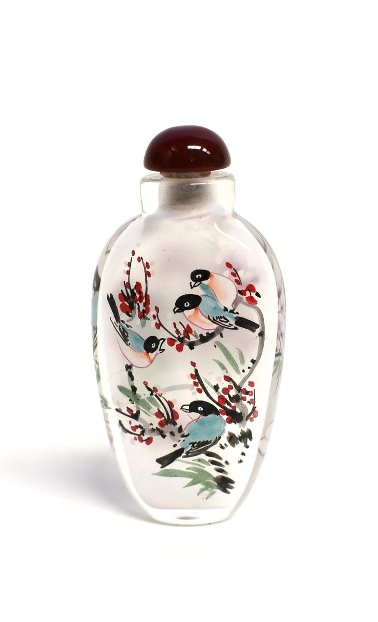 Three Églomisé Reverse Painted Snuff Bottles with Magnolia and Orchid In New Condition For Sale In Somis, CA