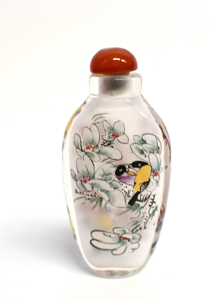 Three Églomisé Reverse Painted Snuff Bottles with Magnolia and Orchid For Sale 2