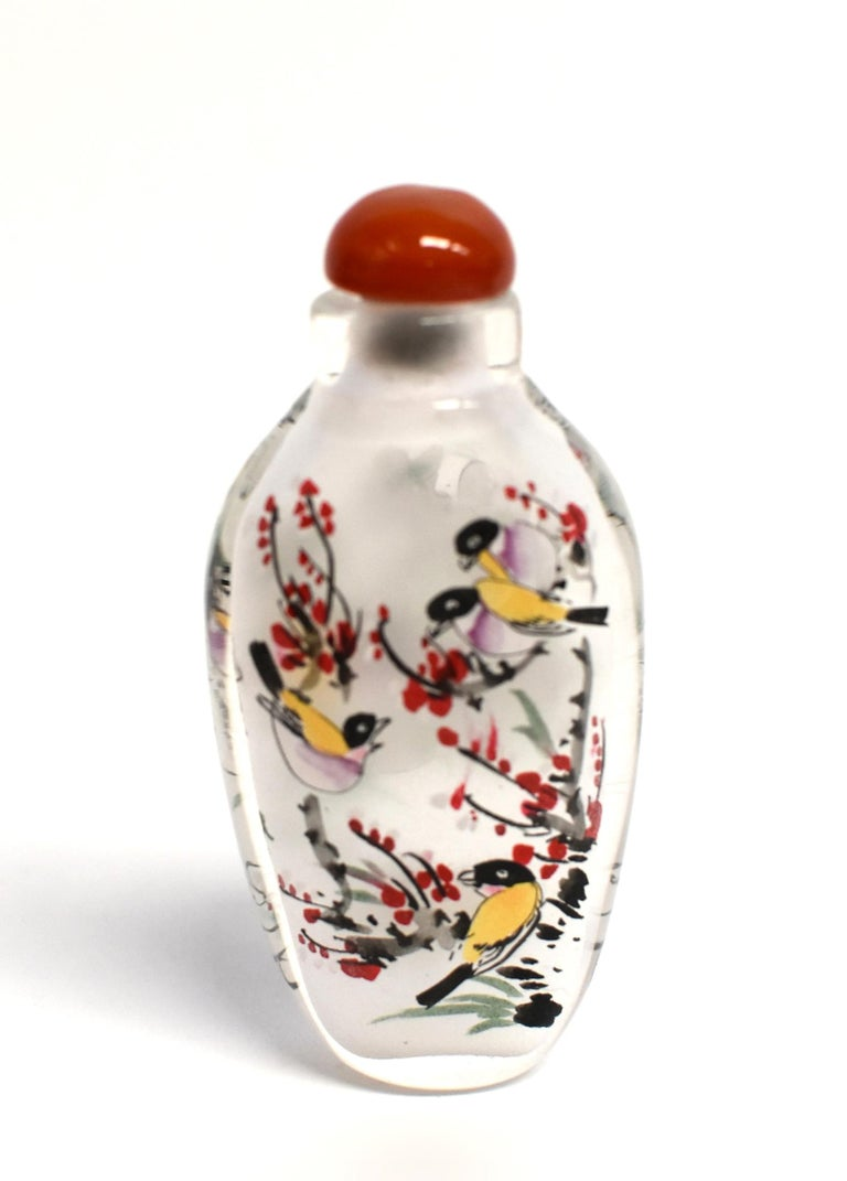 Three Églomisé Reverse Painted Snuff Bottles with Magnolia and Orchid For Sale 3