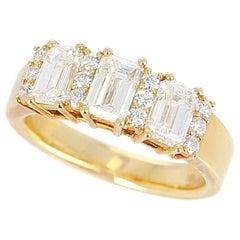 Three Emerald-Cut Diamond Wedding Ring with Round Diamonds, 18 Karat Yellow Gold