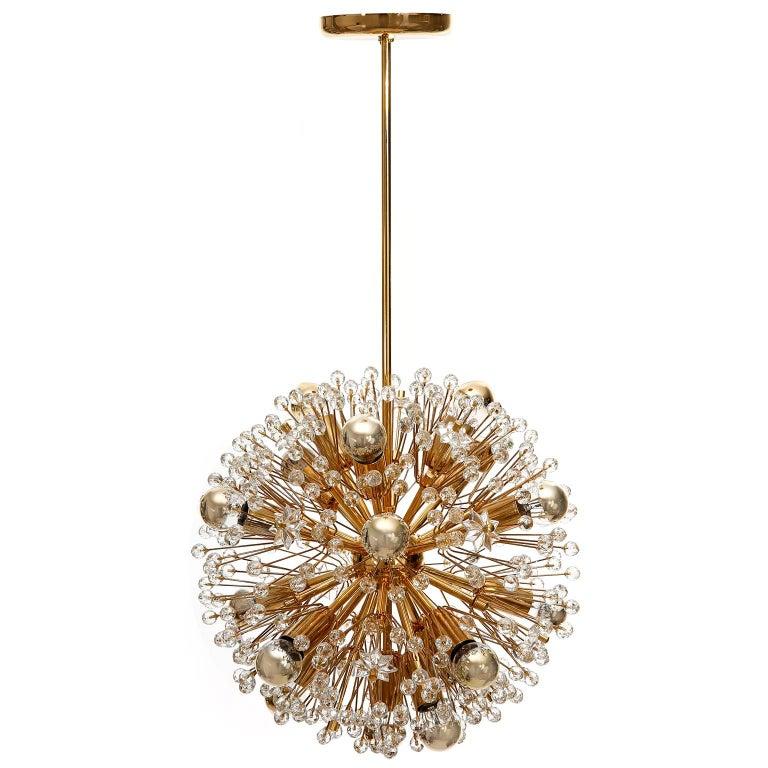 Mid-Century Modern Three Emil Stejnar Sputnik Chandeliers Pendant Lights, Gilt Brass Glass, 1970 For Sale