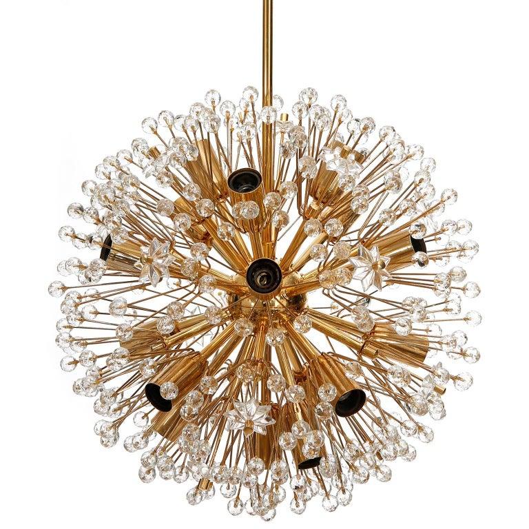 Three Emil Stejnar Sputnik Chandeliers Pendant Lights, Gilt Brass Glass, 1970 In Good Condition For Sale In Vienna, AT