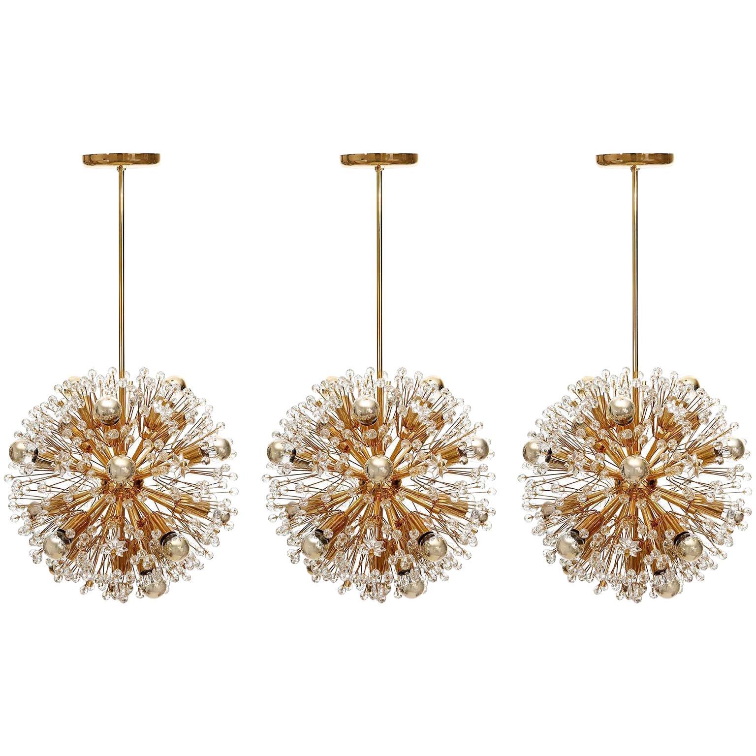 Three Emil Stejnar Sputnik Chandeliers Pendant Lights, Gilt Brass Glass, 1970