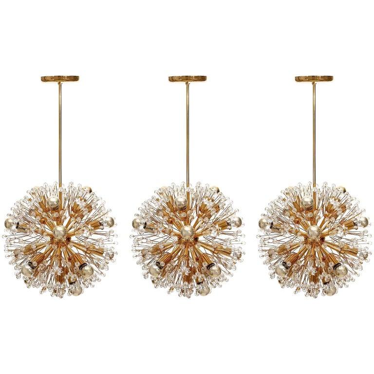 Three Emil Stejnar Sputnik Chandeliers Pendant Lights, Gilt Brass Glass, 1970 For Sale