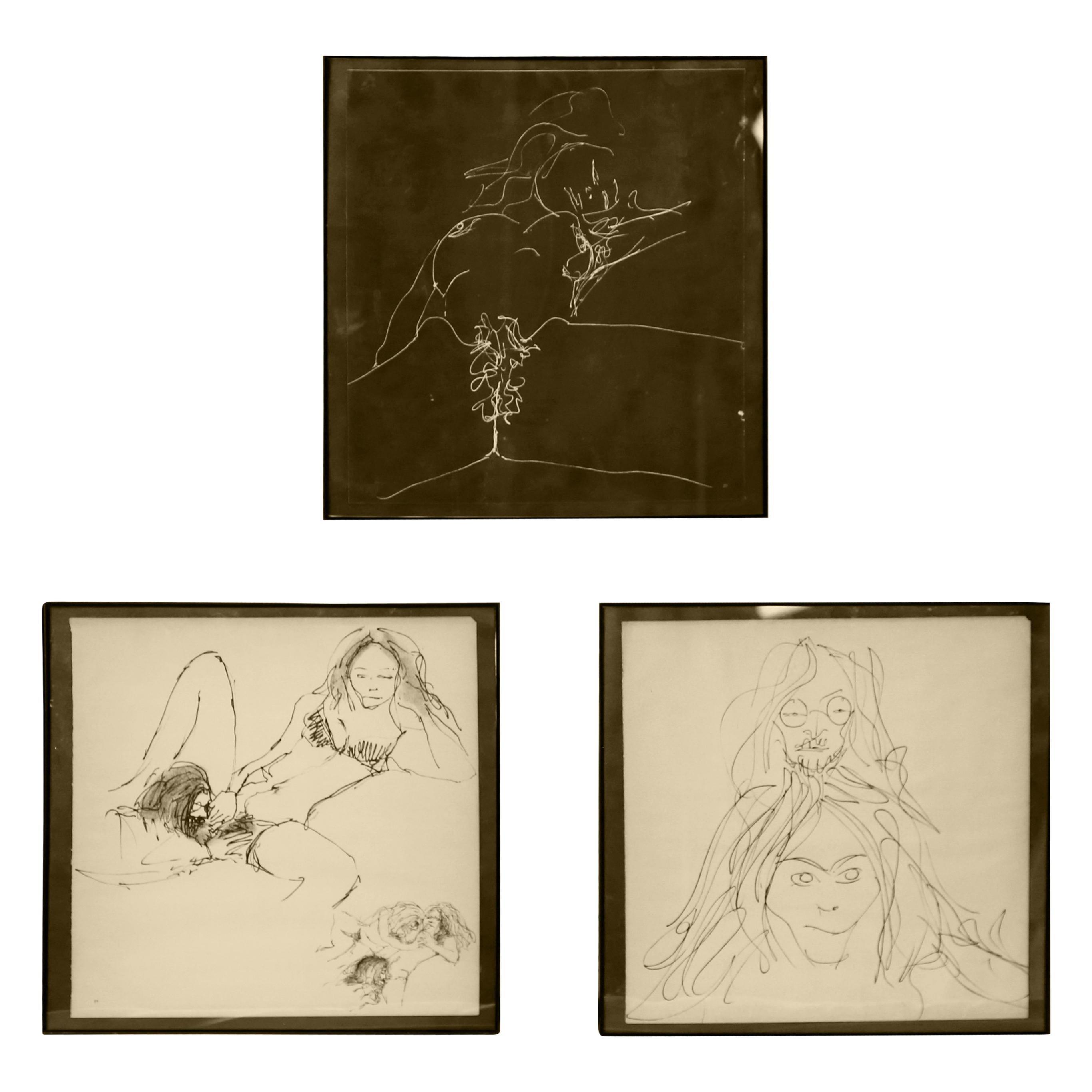Three Erotic Lithographs by John Lennon