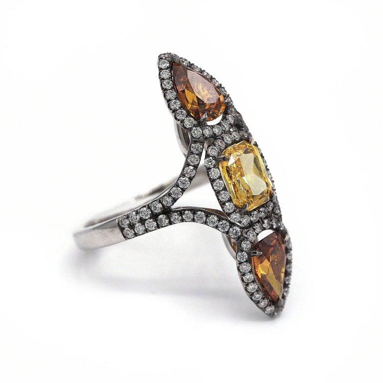 Radiant Cut Three Fancy Color Diamonds Ring 3.49 Carat Total Vivid Yellow Deep Orange-Yellow For Sale