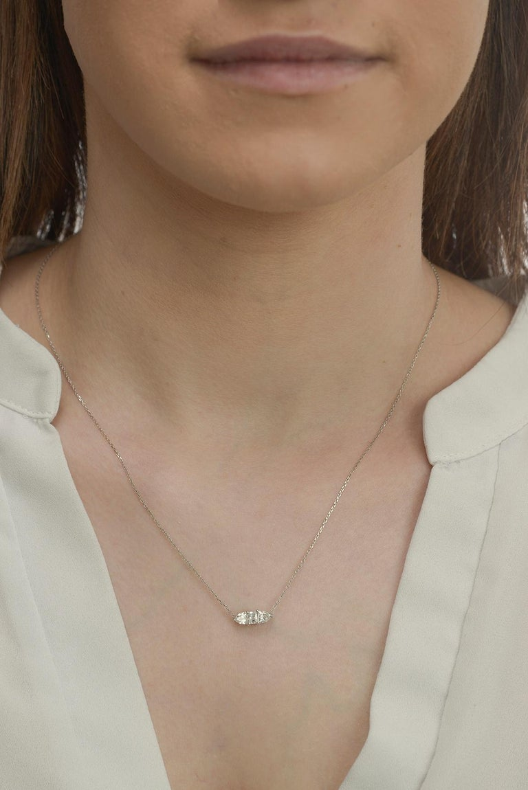 Contemporary Three Fancy Diamond Horizontal Necklace For Sale
