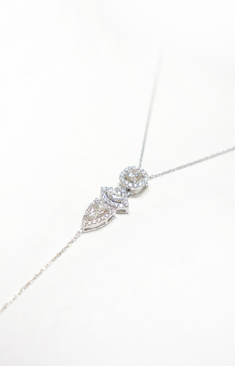 Contemporary Three Fancy Diamond Vertical Necklace For Sale