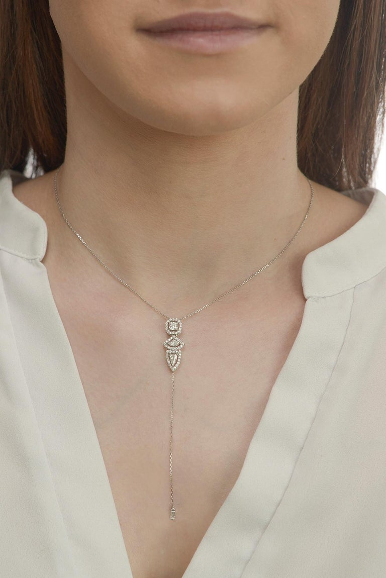 Three Fancy Diamond Vertical Necklace In New Condition For Sale In Houston, TX