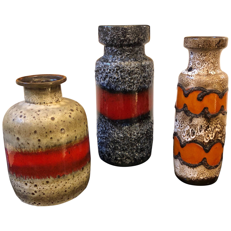 Three Fat Lava Ceramic German Vases, circa 1960