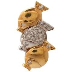 Three Fishes Diamond Pin in 18 Karat Yellow Gold