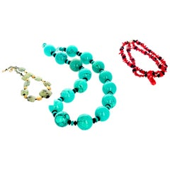 Three for Two-Coral and Turquoise and Prehnite Necklaces