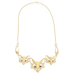 Three Fox Necklace Diamond Sapphire Vintage 14 Karat Gold Estate Jewelry Heavy