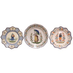Three French Antique Hand Painted Faience Plates from Henriot Quimper