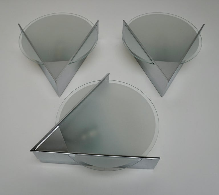 20th Century Three French Art Deco Chrome and Frosted Glass Sconces For Sale