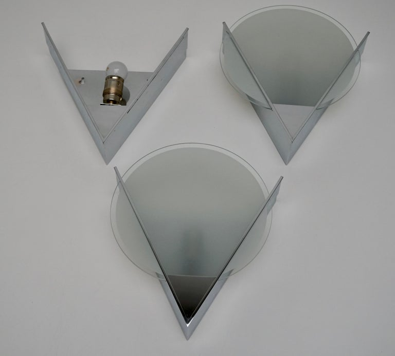 Three French Art Deco Chrome and Frosted Glass Sconces For Sale 1