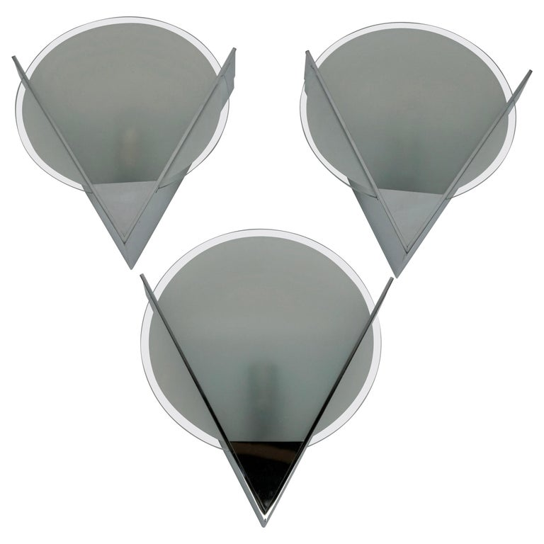 Three French Art Deco Chrome and Frosted Glass Sconces For Sale
