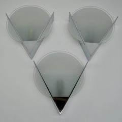 Three French Art Deco Chrome and Frosted Glass Sconces