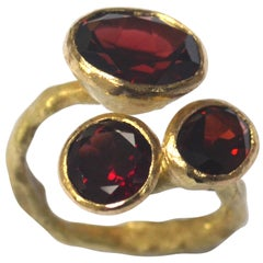 Three Garnet Cluster 18 Karat Gold Textured Ring Handmade by Disa Allsopp