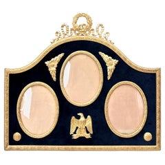 Three Gilded Brass and Velvet Picture Frame